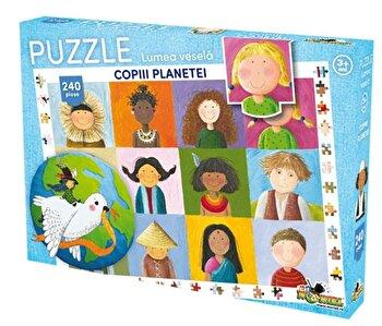 Puzzle Lumea vesela – Copiii planetei,240 piese de la Noriel