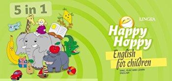 Happy Hoppy Complet – 5 in 1 – Sing, play and learn English – Pentru copii de la 4-9 ani – CD cu cantece, fise de lucru, jocuri de masa si jocuri de memorare/*** de la Linghea
