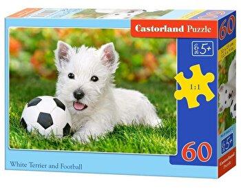 Puzzle Terrier alb cu minge, 60 piese de la Castorland