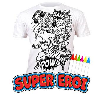Tricou de colorat cu markere lavabile Super Eroi 7-8 ani de la Splat Planet