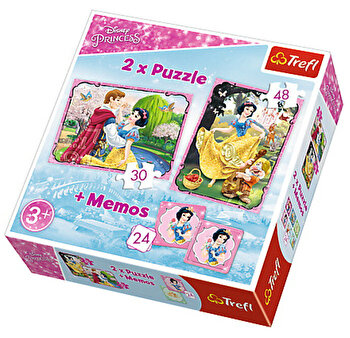Puzzle 2 in 1 – Alba ca Zapada – cu memo, 78 piese de la Trefl