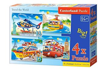 Puzzle 4 in 1 - Traverseaza lumea, 55 piese