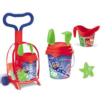 Troller cu ghiozdanel Pj Masks Mondo pentru copii cu jucarii plaja si galetusa de la MONDO
