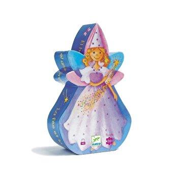 Puzzle silueta – Zana si unicornul, 36 piese de la Djeco