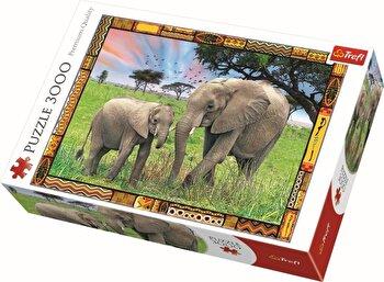 Puzzle Elefanti in savana, 3000 piese de la Trefl