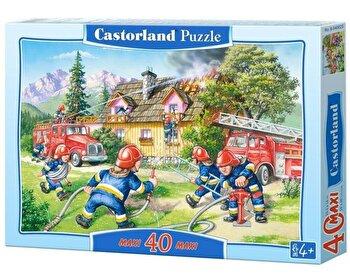 Puzzle maxi Brigada de pompieri, 40 piese de la Castorland