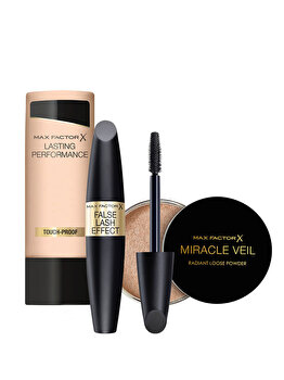 Set cadou cadou Max Factor Bestsellers (Fond de ten Long Lasting Performance, 106 Natural, 35 ml + Mascara Max Factor False Lash Effect, Black, 13 ml + Pudra Miracle Veil Powder, 4 g) de la Max Factor