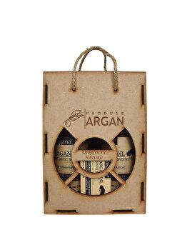 Set cadou rustic cutie lemn (Sampon cu ulei de argan Argana 400ml + Balsam par cu ulei de argan Argana 400ml + Sapun Argana 40gr) de la Azbane