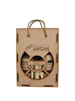 Set cadou rustic cutie lemn (Sampon cu ulei de argan Argana 400ml + Gel de dus cu ulei de argan Argana 400ml + Sapun Argana 40gr) de la Azbane