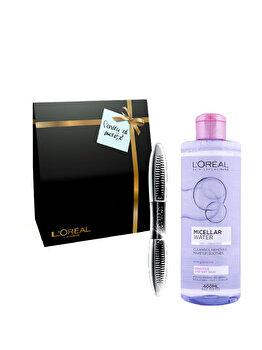 Pachet promo L'Oreal Paris (Apa micelara pentru ten sensibil si uscat + Mascara Superstar, Black) de la L Oreal Paris