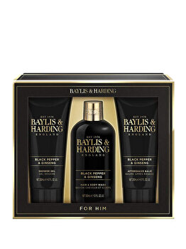 Set cadou Baylis & Harding Black Pepper & Ginseng (Gel de curatare pentru corp si par 2 in 1, 300 ml + Gel de dus, 200 ml + After shave balsam, 200 ml)