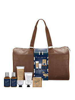 Set cadou Baylis & Harding Fuzzy Duck Men Ginger & Lime (Gel de dus, 200 ml + Sapun, 150 g + Gel de curatare pentru par si corp, 100 ml + Lotiune de corp, 100 ml + After shave balsam, 50 ml + Geanta travel din piele) de la Baylis And Harding