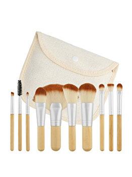 Set 10 pensule travel size cu husa Tools4Beauty de la Tools4beauty