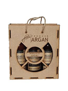 Set cadou Azbane, Argana (Sampon de par cu ulei de argan, 400 ml + Balsam de par, 400 ml + Gel de dus, 400 ml) de la Azbane