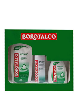 Set cadou Borotalco Original (Gel de dus 500 ml + Deospray Original 150 ml + Sapun lichid 250 ml) de la Borotalco