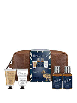Set cadou Baylis & Harding Fuzzy Duck Men Ginger & Lime (Lotiune de corp, 100 ml + Sampon, 100 ml + Gel de dus, 50 ml + After shave balsam, 50 ml + Geanta din piele) de la Baylis And Harding