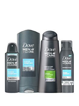 Set Dove Men (Sampon Clean Fresh, 400 ml + Gel de dus Clean Comfort, 400 ml + Spuma de dus Clean Comfort, 200 ml + Deospray Clean Confort, 150 ml) de la Dove