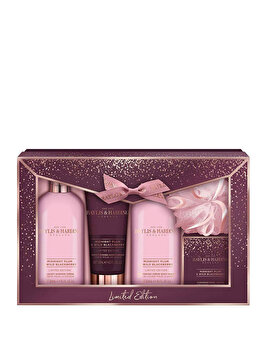 Set cadou Baylis & Harding Midnight Plum & Wild Blackberry (Gel de dus, 300 ml + Crema de dus, 300 ml + Sapun, 150 g + Crema de maini, 130 ml + Burete de baie) de la Baylis And Harding