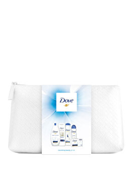 Set cadou Dove Original Beauty Collection (Gel de dus, 250 ml + Lapte de corp, 250 ml + Sapun solid, 100 g + Deospray, 150 ml + Sampon, 250 ml + Geanta cosmetice) de la Dove