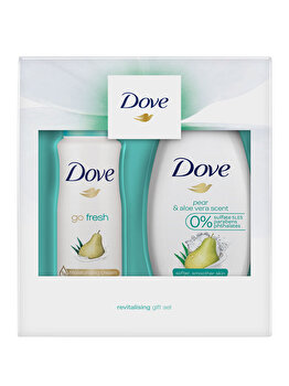 Set cadou Dove Go Fresh Pear & Aloe Vera Duo (Deospray, 150 ml + Gel de dus, 250 ml)