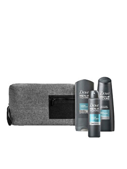 Set cadou: Dove Men+Care Complete Daily Essentials – gel de duș Dove Men+Care Clean Comfort , 250 ml + antiperspirant spray Dove Men+Care Clean Comfort, 150 ml + șampon Dove Men+Care Antidandruff, 250 ml de la Dove