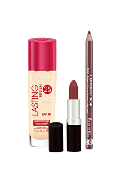 Set cadou Rimmel London Lasting Finish (Fond de ten Lasting Finish, 100 Ivory, 30 ml + Ruj de buze Lasting Finish, 077 Asia, 4 g + Creion de buze Lasting Finish, 047 Cappucino) de la Rimmel