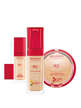 Set cadou Bourjois Healthy Mix 52 (Fond de ten, 52 Vanilla, 30 ml + Anticearcan, 52 Vanilla, 8 ml + Pudra, 02 Beige Claire, 11 g) de la Bourjois