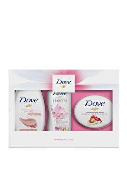 Set cadou Dove Renewing Glow Trio (Gel de dus, 250 ml + Exfoliant pentru corp, 225 ml + Lapte de corp, 250 ml) de la Dove