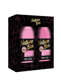 Set cadou Nature Box Almond (Gel de dus 385ml + Lotiune de corp 385ml) de la Nature Box