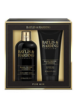 Set cadou Baylis & Harding Black Pepper & Ginseng (Gel de curatare pentru corp si par 2 in 1, 300 ml + Gel de dus, 200 ml) de la Baylis And Harding