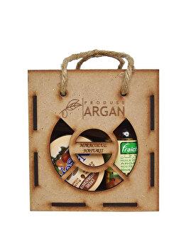 Set cadou rustic cutie lemn (Crema cu ulei de argan Nagoya 100ml + Ulei de argan pentru piele/par Fraicheur 60ml + Sapun cu ulei de argan Argana 40gr) de la Azbane