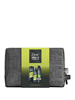 Set cadou Dove Men+Care Sport Active+Fresh (Gel de dus, 250 ml + Spuma de dus, 200 ml + Deospray, 150 ml + Geanta de cosmetice ) de la Dove