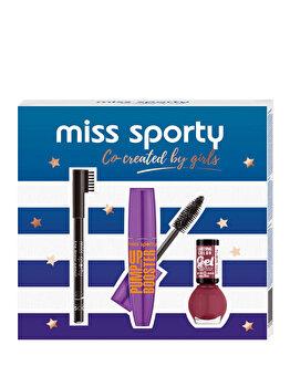 Set cadou Miss Sporty Co-Created By Girls (Mascara Pump up Booster, 001 Black + Creion de sprancene, 002 Brown + Lac de unghii Lasting Colour, 151 Miss Red) de la Miss Sporty