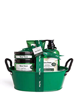 Set cadou IDC Institute Tea Tree (Gel de dus, 245ml + Sare de baie, 200g + Scrub pentru corp, 60 ml + Lotiune de corp, 155 ml + Bomba de baie, 4 x 15g) de la IDC Institute