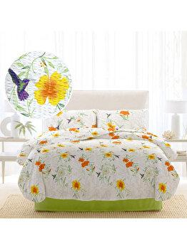Lenjerie de pat 2 persoane, Dormisete, crepe, imprimata, Rosemallow-Lime, 220 x 230 cm, bumbac, Verde de la Dormisete