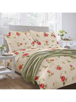 Lenjerie de pat, Dormisete, 2 persoane, renforce, imprimata, Roses 04, 220 x 230 cm, bumbac, Crem/Rosu de la Dormisete