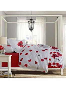 Lenjerie de pat, Dormisete, 2 persoane, renforce, imprimata, 220 x 230 cm, Poppy Field-chili pepper, bumbac, Alb/Rosu de la Dormisete