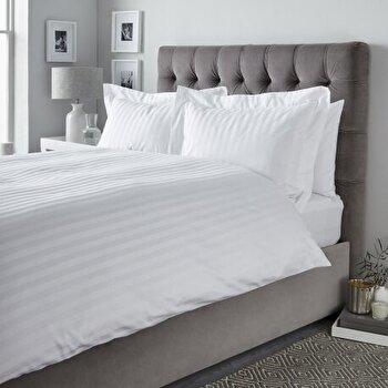 Lenjerie de pat, Dormisete, 2 persoane, Satin Astra, 220 x 280 cm, bumbac, Alb de la Dormisete