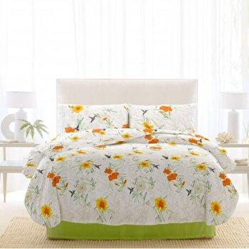 Lenjerie de pat, Dormisete, 2 persoane, renforce, imprimata, 220 x 230 cm, Rosemallow, bumbac, Verde de la Dormisete