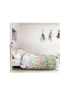 Lenjerie pentru pat matrimonial, Dormisete, Wild field-Allover, renforce imprimata, bumbac, 220 x 250 cm, Multicolor de la Dormisete