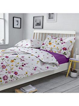 Lenjerie pentru pat matrimonial, Dormisete, Gardenia 02, renforce, imprimata, 220 x 250 cm, bumbac, Mov de la Dormisete