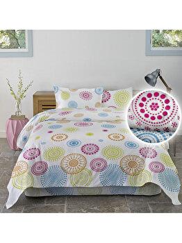 Lenjerie de pat matrimonial, Dormisete, matrimonial, renforce, imprimata, Circles, 200 x 220 cm, bumbac, Multicolor de la Dormisete