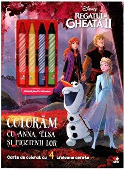 Disney. Regatul de gheata II Coloram cu Anna, Elsa si prietenii lor. Contine 4 creioane cerate/***