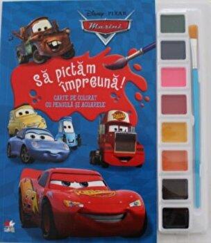 Disney. Masini. Sa pictam impreuna! Carte de colorat cu pensule si acuarele (format mic)/*** de la Litera