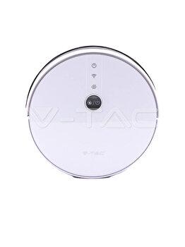 Aspirator robotic giroscop, V-TAC, compatibil Alexa si Google Home, 5h, 12.9 x 2.9 cm, 8649, Alb