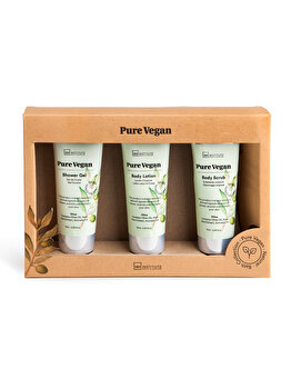 Set cadou IDC Institute Pure Vegan, 3 piese (Gel de dus, 75 ml + Lotiune de corp, 75 ml + Exfoliant pentru corp, 75 ml)