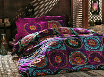Set lenjerie de pat single, Turkiz, bumbac ranforce, 160 x 240 cm, 182TRK2120, Multicolor de la Turkiz
