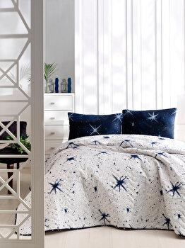 Set lenjerie de pat single, EnLora Home, bumbac/poliester, 160 x 220 cm, 162ELR9452, Albastru/Alb