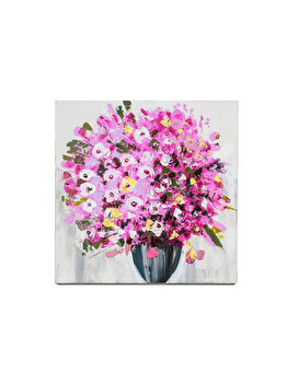 Tablou pictat manual Mendola Art, Geranium roz, 218-OPE3108B, 60 x 60 cm de la Mendola Art