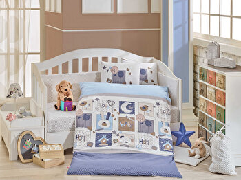 Set lenjerie de pat pentru copii, Hobby, bumbac poplin, 100 x 150 cm, 113HBY0056, Albastru de la Hobby